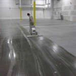 on the job polishing a concrete floor