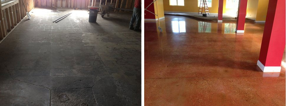 polished concrete before and after