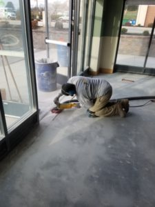 Polishing the door threshold at Jersey Mikes