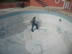 Sand Blasting a pool