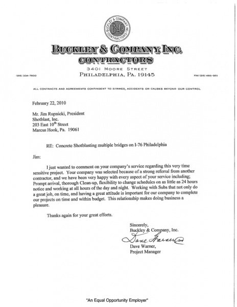 Buckley & Company Thank You Letter