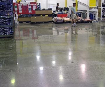 Floor before our polished concrete contractors got to work