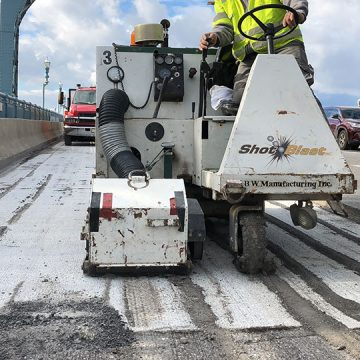 concrete shot blasting on bridge